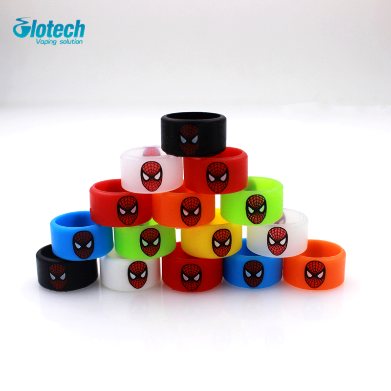 Glotech 5pcs/10pcs New silicone rubber vape ring red face decorative band for 18650 mech ...