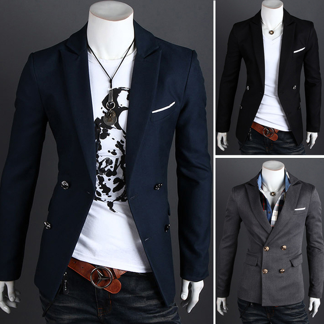 52d0e4d20 Free Shipping Hot Men's Suit,Men's Brand Name Suit,Men's Jackets,Men's  casual suit jacket Color:Black,Dark gray,Navy Size:M-XXL