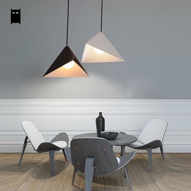 Matte White Black Iron Geometry Triangle Pendant Light Fixture Nordic Minimalist Hanging Ceiling Lamp Design For Dining Room Bar