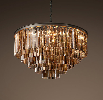 Américain rétro tube de verre pendentif lampe LED rond circulaire foyer salon salon cristal suspendu plafonnier lumière LED