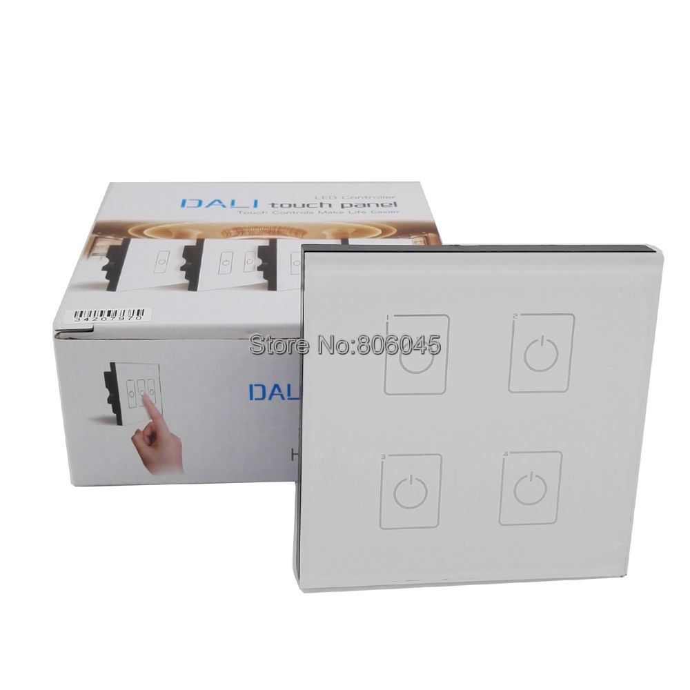 LTECH DA4 Touch Panel 4CH 4 Road On/Off Touch Dimmer DALI Series Touch Panel Controller for LED Light Wall Mount Control AC 220V ltech da6 wall mount knob panel dali dimmer controller on off switch 64 single address 16 group address and broadcast address
