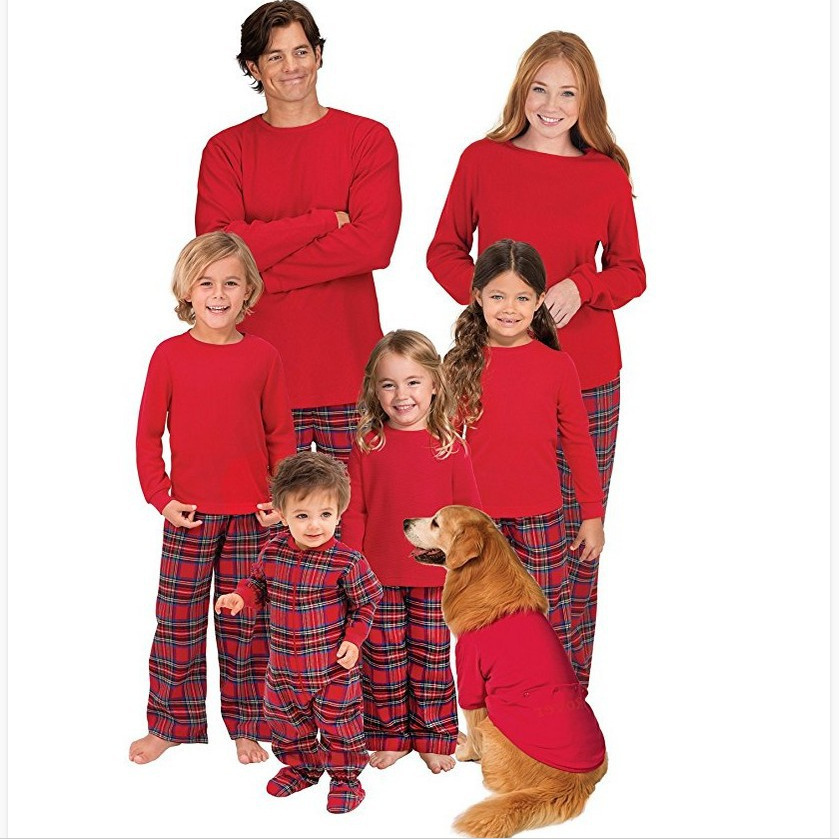 New Family Set Christmas Pajamas Family Clothing Mom Daughter Father Son Grid Toddler Sleepwear Clothes Family Clothing Sets
