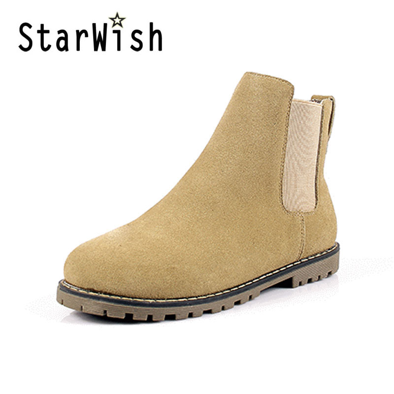 ФОТО STARWISH Women Genuine Leather Flat Winter Ankle Boots Ladies Casual Concise Martin Boots New Sping Autumn Short Boots For Women