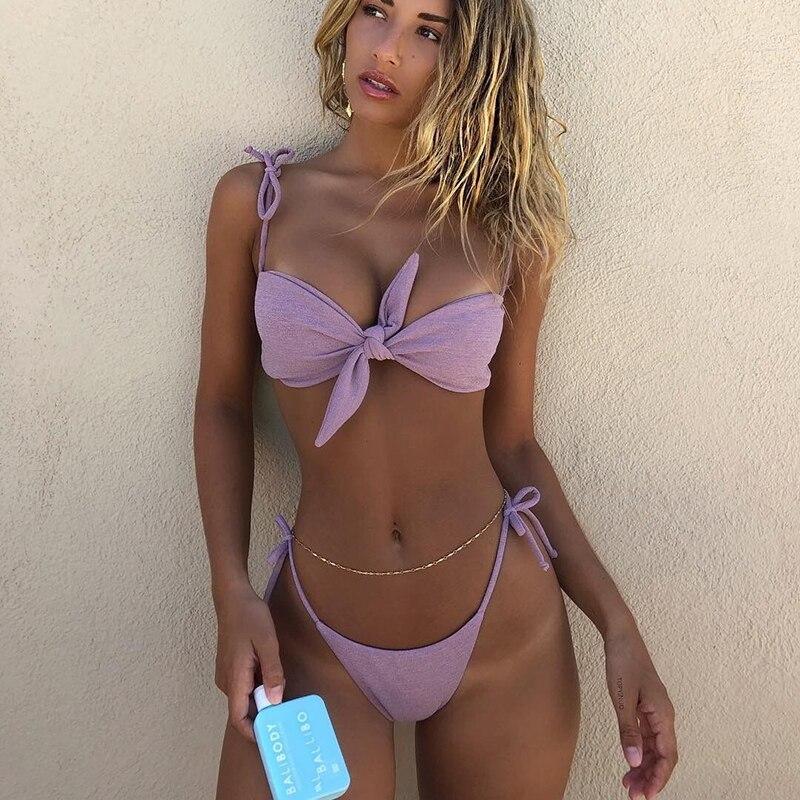 Violet Bandage Women Sexy Bikini Sets Bow Straps Hot Israel Style Femme Swimsuits Micro Bikini Padded High Quality Biquini C122 costumi moda 2019