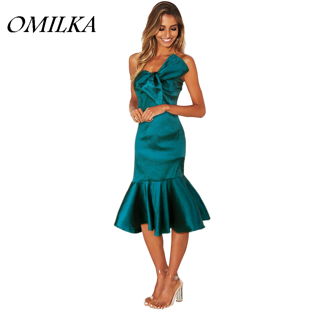 OMILKA 2018 Summer Women Spaghetti Strap Trumpet Ruffle Bow Bodycon Dress Sexy Blue Satin Backless Club Party Midi Dress