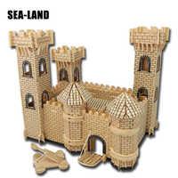 3D Wooden Buildings Model Gift Children Puzzles Toys Castle Series 3D Wooden Toy Children Educational Toys Assembled Iq Puzzle
