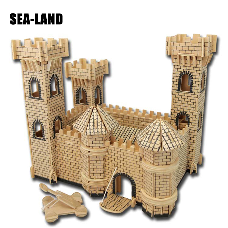 3D Wooden Buildings Model Gift Children Puzzles Toys Castle Series 3D Wooden Toy Children Educational Toys Assembled Iq Puzzle