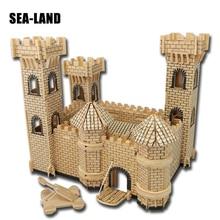 3D Wooden Buildings Model Gift Children Puzzles Toys Castle Series Toy Educational Assembled Iq Puzzle