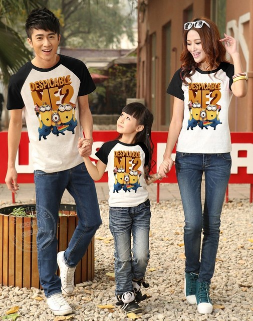 Fashion summer children's t-shirts for family clothes mother father son despicable me 2 minions kids short-sleeve boy t shirt