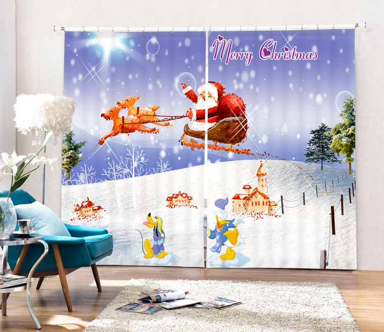 Christmas Santa Claus And Deers 3D Painting Blackout Curtains Office Bedding Room Living Room Sunshade Window Custom made Size - 6