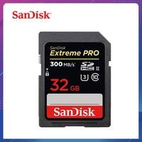 SanDisk Memory Card Extreme SDHC/SDXC SD Card 32GB 64GB 128GB Read 300MB/S C10 U3 UHS II cartao de memoria Flash Card for Camera