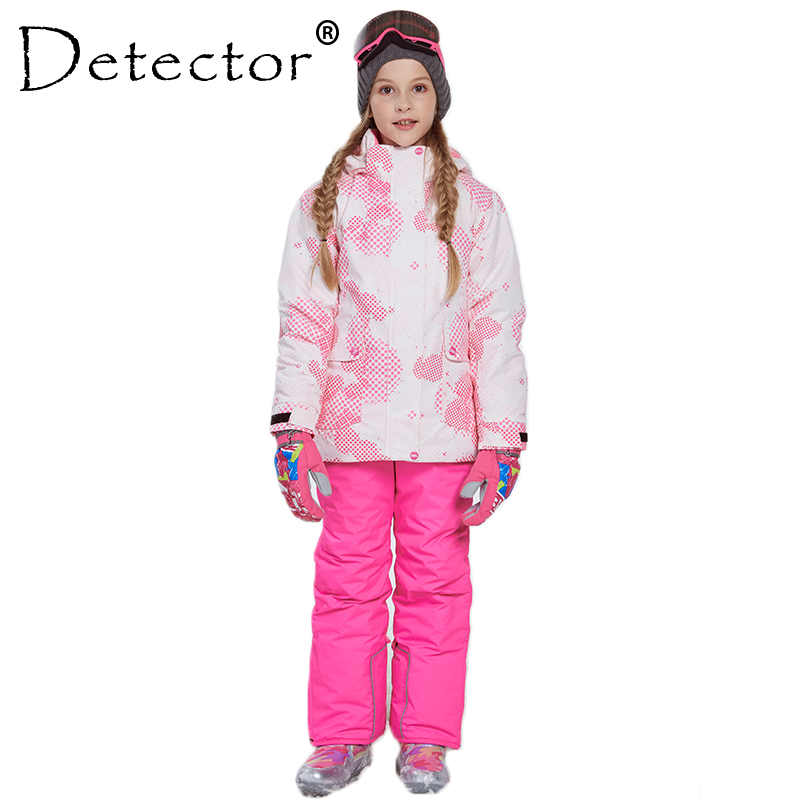 Detector Girl Winter Snow Sets Windproof Ski Jacket and Pant Outdoor Children Clothing Set Kids Warm Skiing Suit For Boys Girls 2018 teenage children winter clothing set windproof ski jackets pant kids winter snow sport suits for boys outdoor warm ski sets