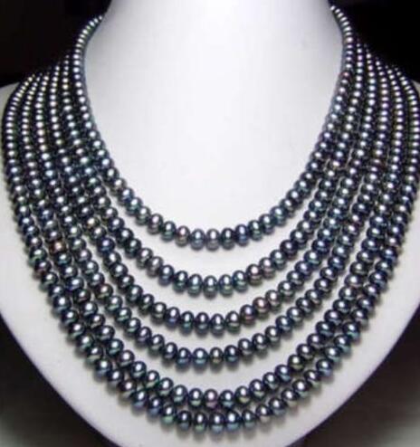 Vente de bijoux>>> mode Long 7-8mm noir collier de perles de culture Akoya 100 pouces accessoires de chaîne de corde pour les femmes filles dames