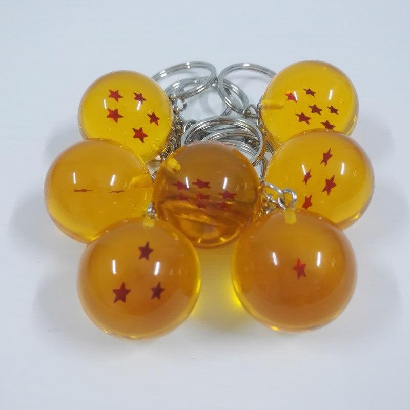 7 pcs/lot Dragon Ball Z Keychain 1 2 3 4 5 6 7 étoiles Boules de Cristal PVC figurines Voiture Jouet 2.5 cm DragonBall Key chaîne anneau