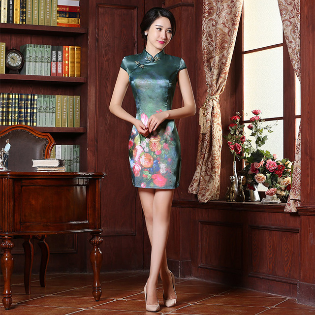 New Summer Qipao Chinese Traditional Dress Vintage Green Floral Print  Short Sleeve Print Cheongsams Vestido Evening Dresses