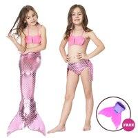 4PCS Set Swimmable Baby Girl Kids Mermaid Tail Cosplay With Monofin Fancy Dress Swim Bikini Set