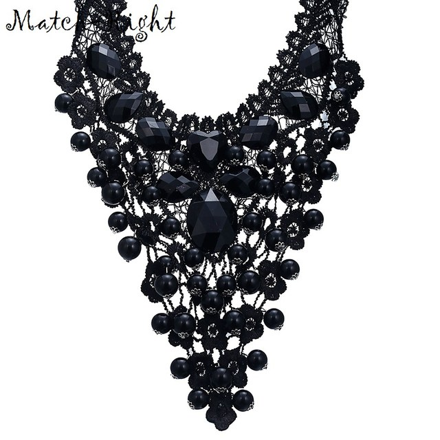 Match-Right New 2015 Hot Pendant Necklace Women Trendy Jewelry Rope Chain Statement Necklaces Lace Collar RhinestonePendants