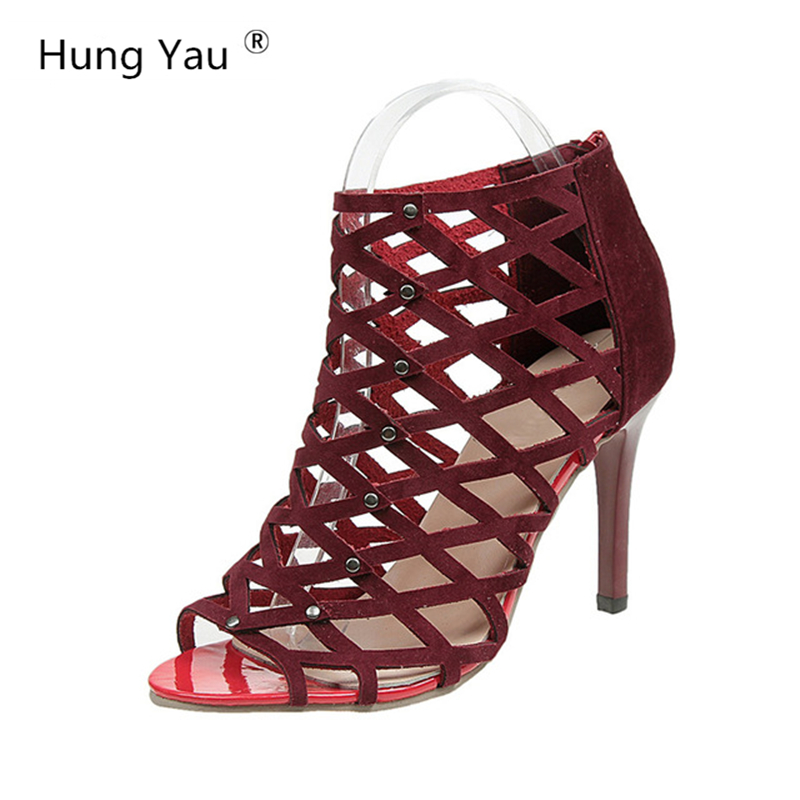 Hung Yau Hollow Shoes For Women Sandals 2018 Summer Style Leather Open Cool Peep Toe High Heels Black Red Pumps Plus Size US 11