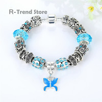 Blue Crystal Bracelets Bangles Butterfly Charms Bracelet Women Silver Plated Jewelry For Female PA1357