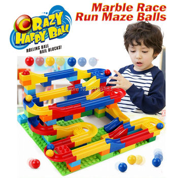 DIY Construction Crazy Marble Race Run Maze Balls Track Building Blocks Colorful rolling ball Educational toys