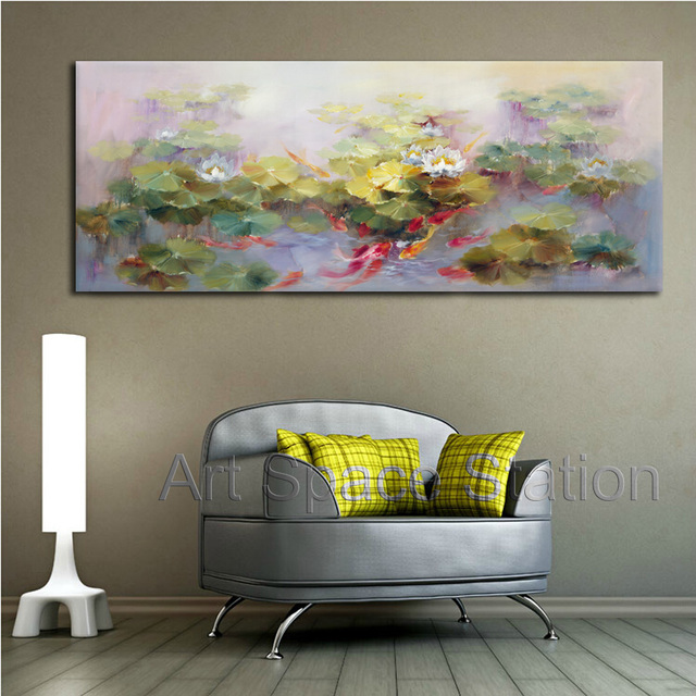 feng shui art for living room ideas with dark gray sofa large canvas painting chinese koi fish oil lotus pond impressionist landscape decoration