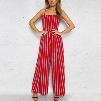 Red Striped Jumpsuits Playsuit Women Off Shoulder Summer Beach Sexy Strap Long Rompers Playsuits Backless Bow Overalls feminino