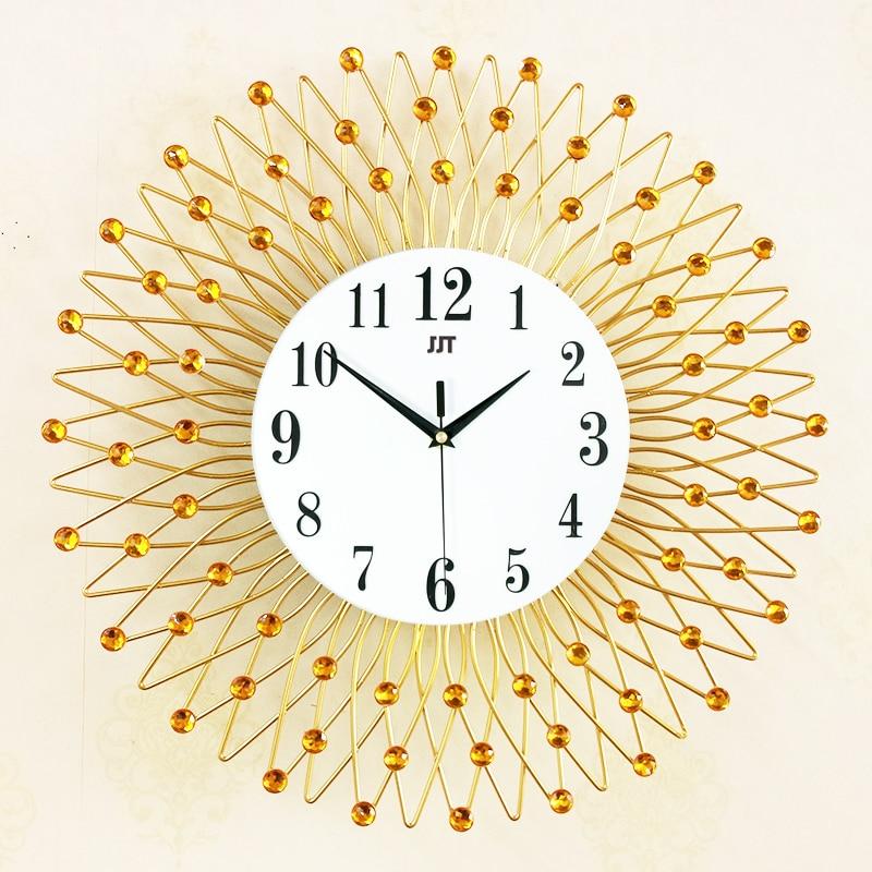 Jjt 3d Iron Retro Decorative Wall Clock Art Craft Gold