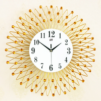 JJT 3D Iron Retro Decorative Wall Clock Art Craft Gold Crystal Wall Clocks Design Clock Wall 14 Inch