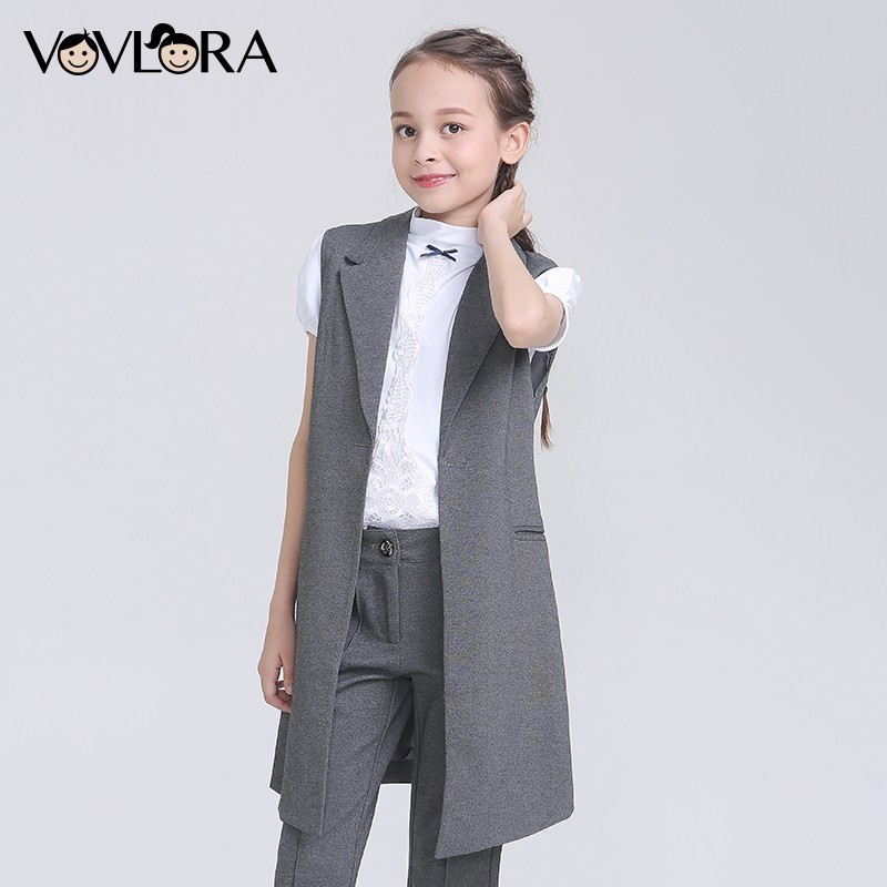 Girls School Vest Slim Formal V Neck Kids Vest Solid Button Knitted Long Children Clothes Summer 2018 Size 9 10 11 12 13 14 Year girls school blazer v neck formal double breasted kids jacket long sleeve slim solid suit summer 2018 size 9 10 11 12 13 14 year
