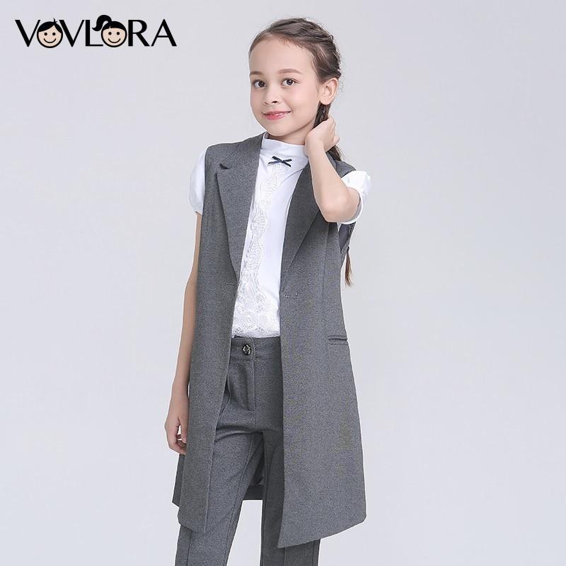 Girls School Vest Slim Formal V Neck Kids Vest Solid Button Knitted Long Children Clothes Summer 2018 Size 9 10 11 12 13 14 Year