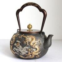1.3L Дракон без покрытия позолота железа чайник ручной работы индивидуальные код японский BPA бесплатно Исин литой чайник зеленый чай пуэр