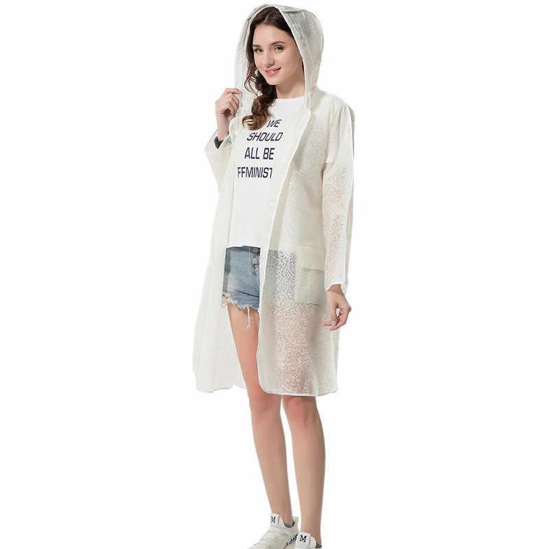 Мода eva женский кружевной дождевик Толстый водонепроницаемый дождевик для женщин прозрачный Кемпинг Открытый тур непромокаемая одежда с капюшоном костюм