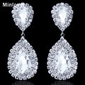 Minlover 5 Colors Crystal Teardrop Long Earrings Bridal Large Drop Earrings for Women Fashion Wedding Jewelry EH003