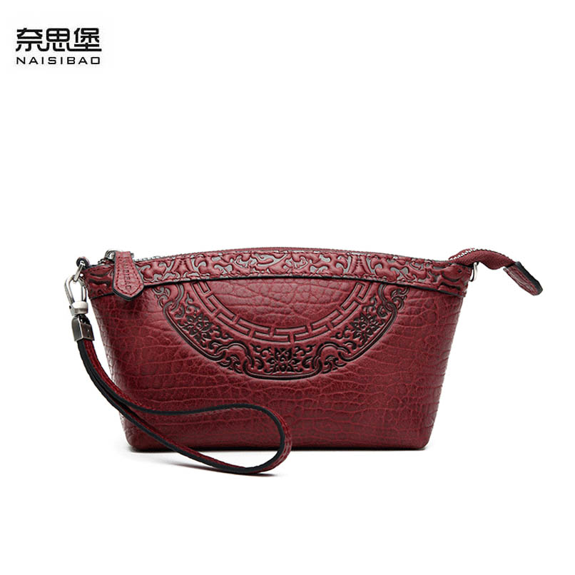 NAISIBAO 2019 new women Genuine Leather bag top cowhide Embossed  bag famous brand fashion clutch bag women leather shouler bagsNAISIBAO 2019 new women Genuine Leather bag top cowhide Embossed  bag famous brand fashion clutch bag women leather shouler bags