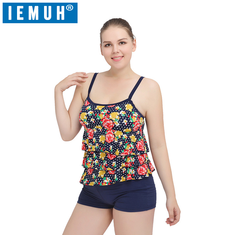 IEMUH One-Piece Suits plus size swimwear Bathing Suit Push up Bikini set Brazilian Women Swimwear plus size print Swimsuit XXXL floylyn women swimwear print tankini bikini set bandage swimsuit striped bathing suits plus size 2 piece swimsuit 2017 hot style