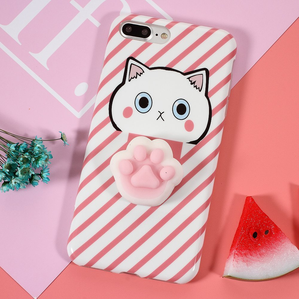 Squishy Case 3D Cat Paw For iphone 6 6S Cute Cover For iphone 6 6S Plus Fashion Stripe Pattern ...