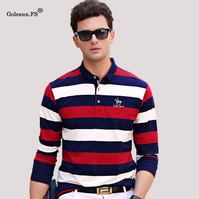 New High Quality Men Autumn Smooth Smart Casual   Polo   Shirts Male Classic Long sleeve Top shirts Clothing men 17613