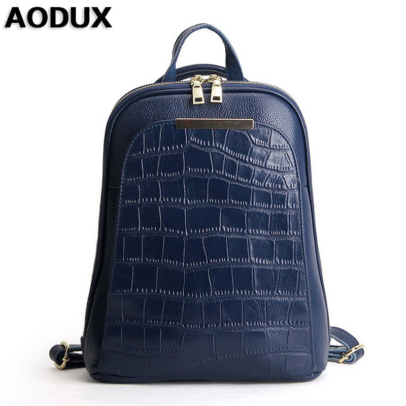 AODUX Fashion Female Backpacks 100% Genuine Leather Women Backpack Ladies School Bag Top Layer Cowhide Book ipad Bags Mochila zency genuine leather backpacks female girls women backpack top layer cowhide school bag gray black pink purple black color