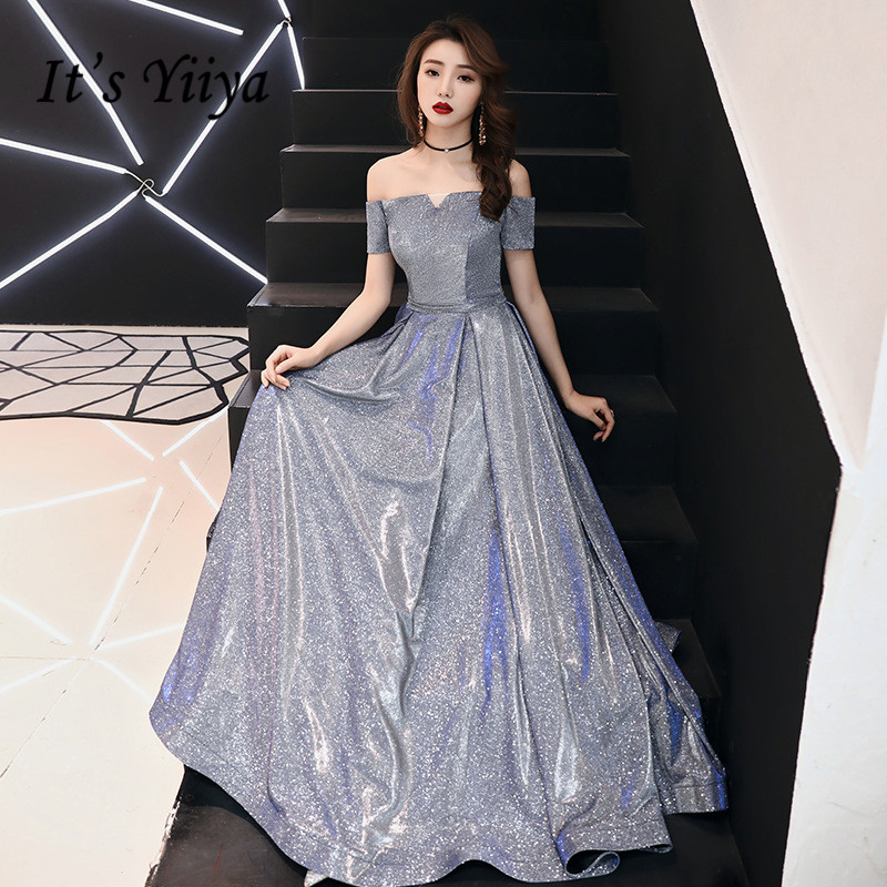 It's YiiYa   Evening     Dress   Boat Neck Gray Sexy Lace Up Formal   Dresses   Off Shoulder A-line Slim Long Party Gown E099