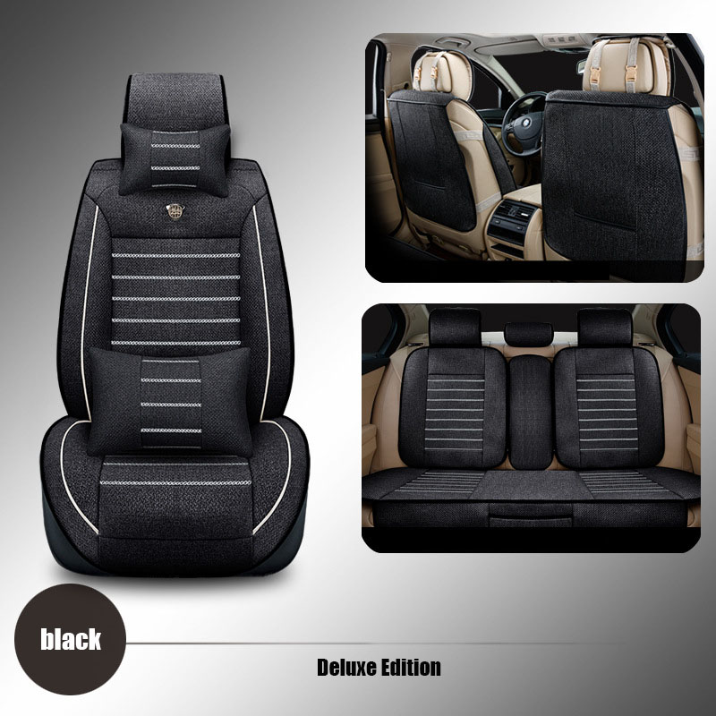 2017 New High quality linen car seat cover Front Rear Complete Set Universal Seat cushion Car