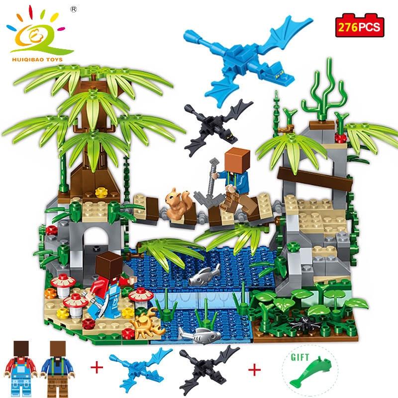 HUIQIBAO TOYS My World Tree Bridge Model Building Blocks Compatible Legoe Minecraft City Educational Toy For Kids Boy Girl Gifts loz mini diamond block world famous architecture financial center swfc shangha china city nanoblock model brick educational toys