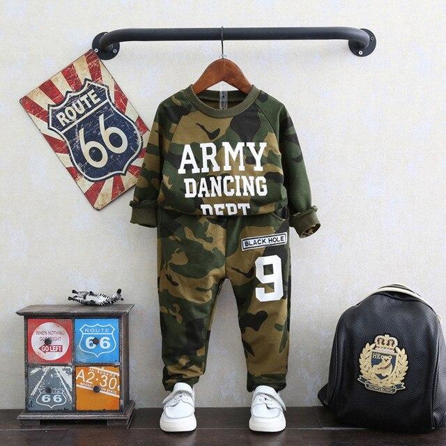 Boys Clothing Set Tracksuit Spring Army Kids Set Children Clothing Suit Cotton Shirt+Pants Kids Set Kid Clohthes Boys Suits