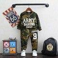 Meninos Conjunto de Roupas de Treino Do Exército Primavera Crianças Set Roupa Das Crianças Suit Clohthes Camisa de Algodão + Calça Crianças Conjunto Miúdo Meninos ternos