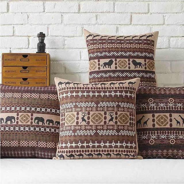 Style africain cr ative moderne minimaliste g om trique coton pais coussin oreiller bureau - Canape style africain ...