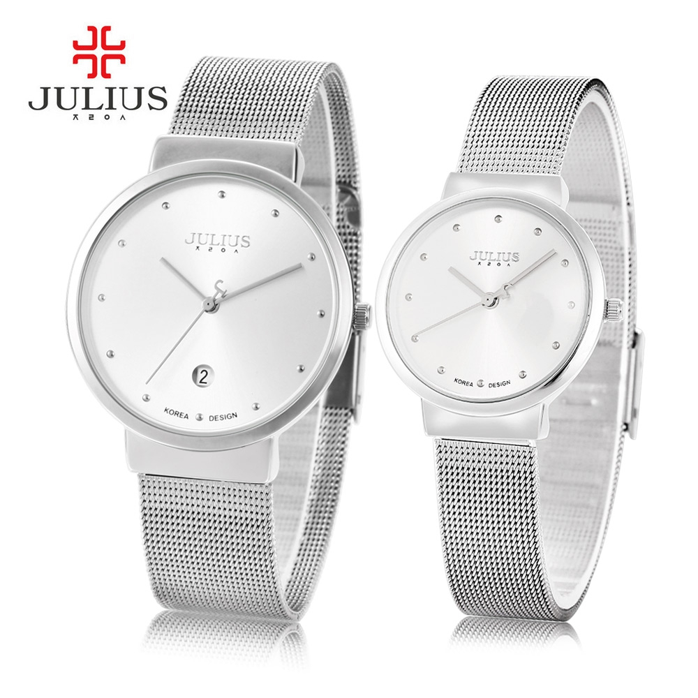 Julius 2016 Luxury Brand Couple Watches Lovers Waterproof Dress Watch Men Women Ultra Thin Full Steel Quartz Wrist Watch relogio new fashion full stainless steel silver web band dress quartz wrist watch wristwatches for men women lovers couple