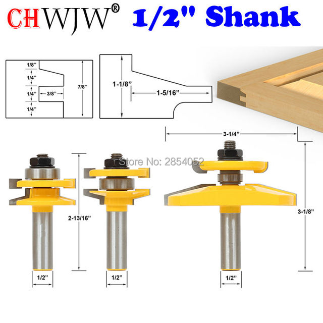 Coupeur Tenon pour le travail du bois, jeu de mèches de routeur de porte darmoire à 3 bits avec tige de 1/2 pouce