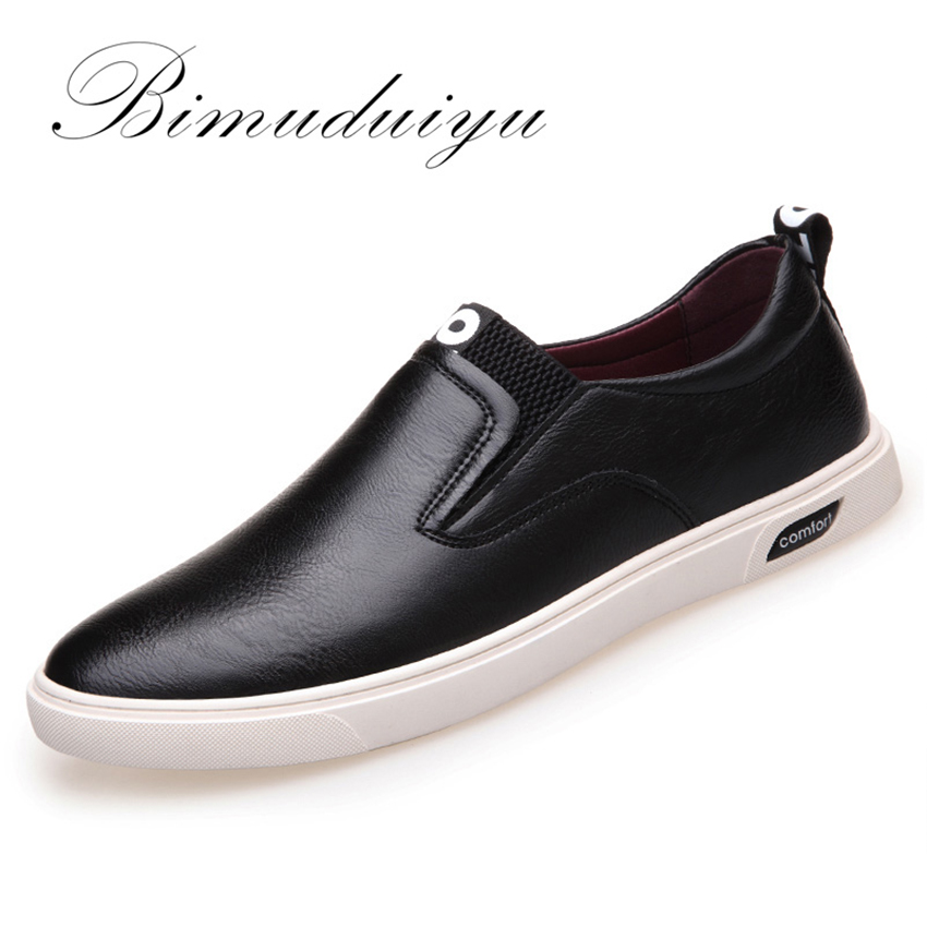 BIMUDUIYU Brand Spring 2017 New Men's Casual Shoes Slip-on Korean PU Leather Flat Breathable Shoes Trend Convenience Of Leisure 2016 spring shoes a flat with nurse shoes the leisure trend of korean flat shoes