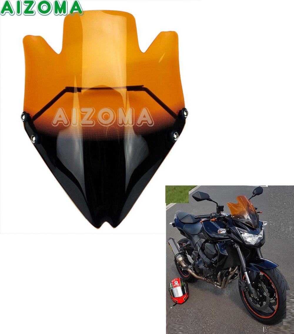 Touring Motorcycle Windshield Orange Windscreen Wind Deflector w Bracket for Kawasaki Z 750 R Z750 Z750R