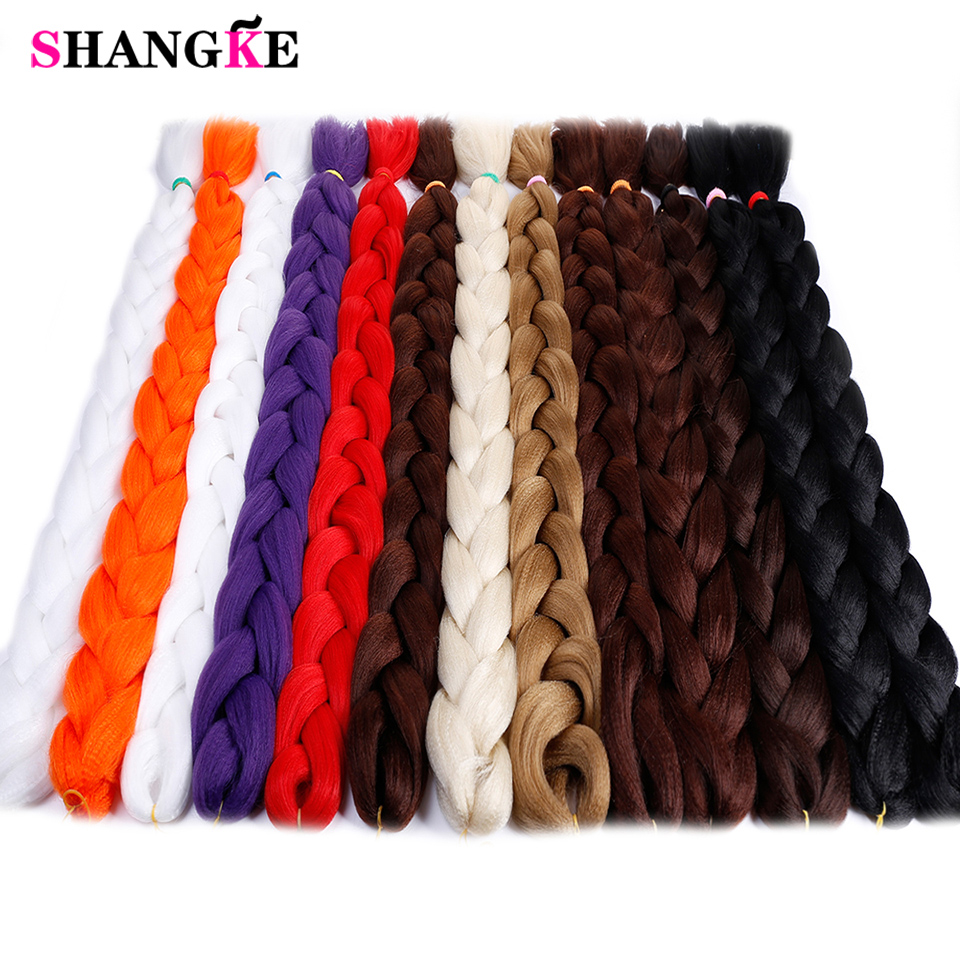 SHANGKE 82inch Jumbo Braids Synthetic Hair Ombre Braiding Crochet TpinkTpurple 165g/pack