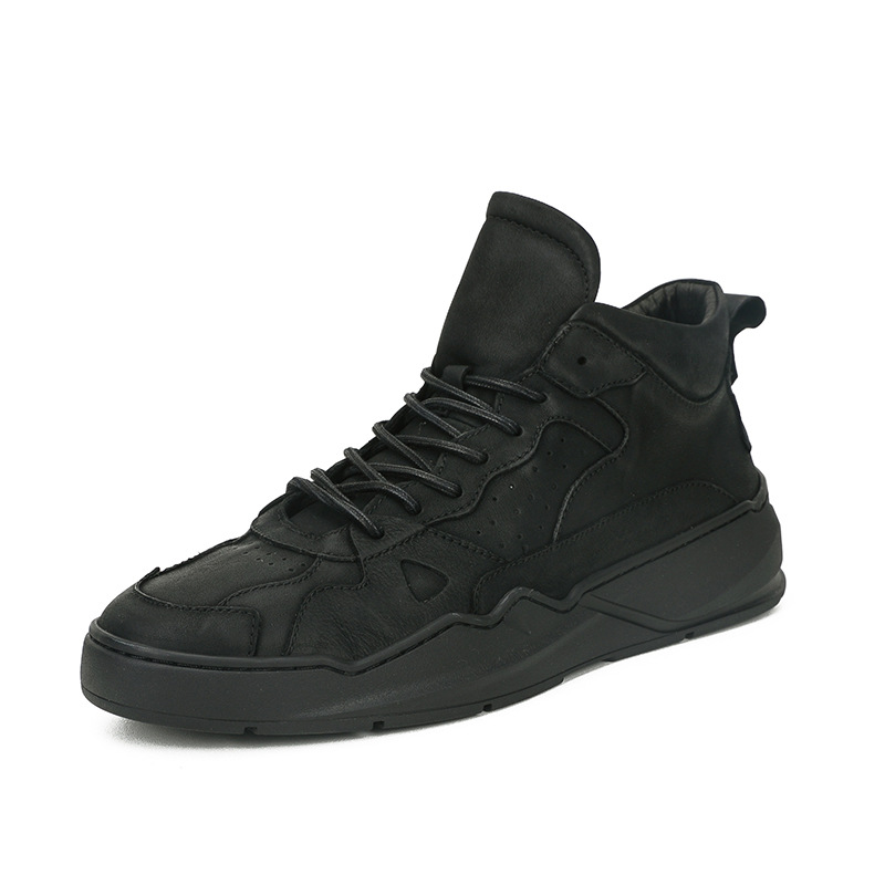 Genuine Leather men s high top shoes Korean all match cowhide casual shoes autumn winter men